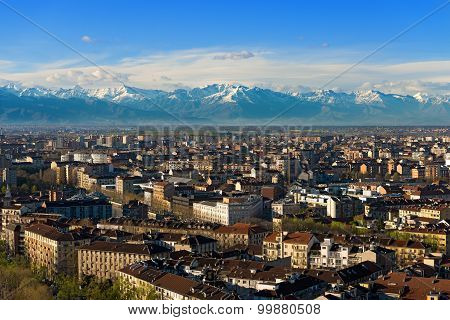 Aerial View Of Turin - Piedmont Italy