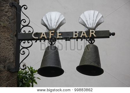 Coffee and bar in the city of Santiago, Spain