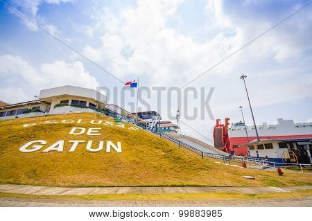 Gatun Locks, Panama Canal. This Is The First Set Of Locks Situated On The Atlantic Entrance Of The P