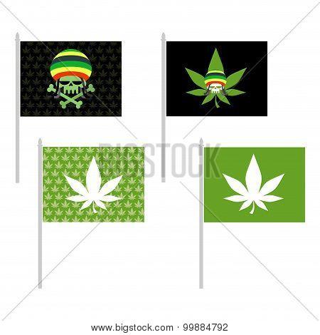 Rasta Flags Set. Banner For Addicts Of Jamaica. Green Skull And Leaf Marijuana. Head Skeleton In Ras