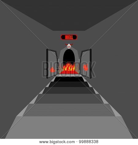Gate To Hell. Open  Fiery Gate Of Purgatory. Door To Hell. Entrance To Devil. Stairs In Dungeon. Vec