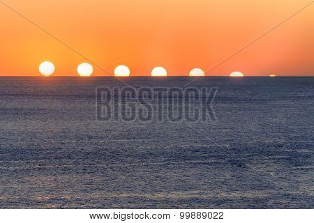Sunset sequence over water. Mediterranean Sea in Ibiza, Spain poster