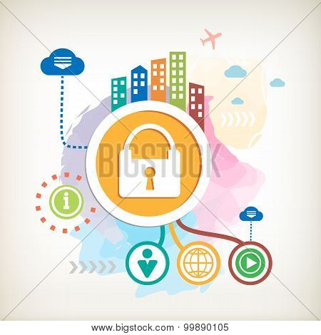Lock And City On Abstract Colorful Watercolor Background