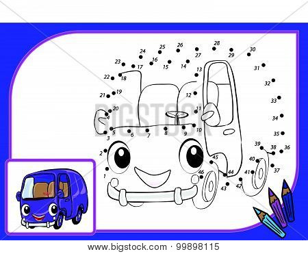 Coloring Book Dot To Dot Autobus