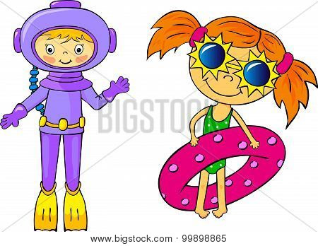 Diver And Girl With Ligebuoy