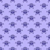 Skull with crossbones background. Seamless purple pattern from head of skeleton. Halloween Ornament poster