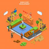 Mobile game development flat isometric vector concept. Developers team build virtual world of mobile game. poster