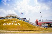 COLON PANAMA - APRIL 15 2015: Gatun Locks Panama Canal. This is the first set of locks situated on the Atlantic entrance of the Panama Canal. poster