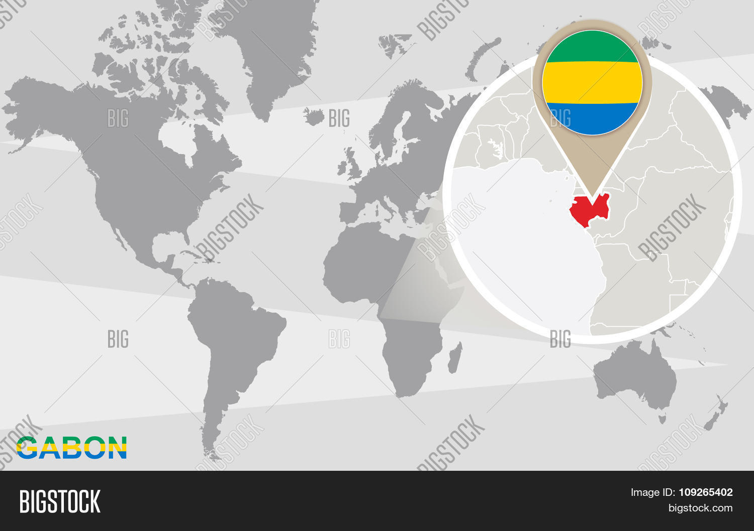 Gabon World Map.World Map Magnified Vector Photo Free Trial Bigstock