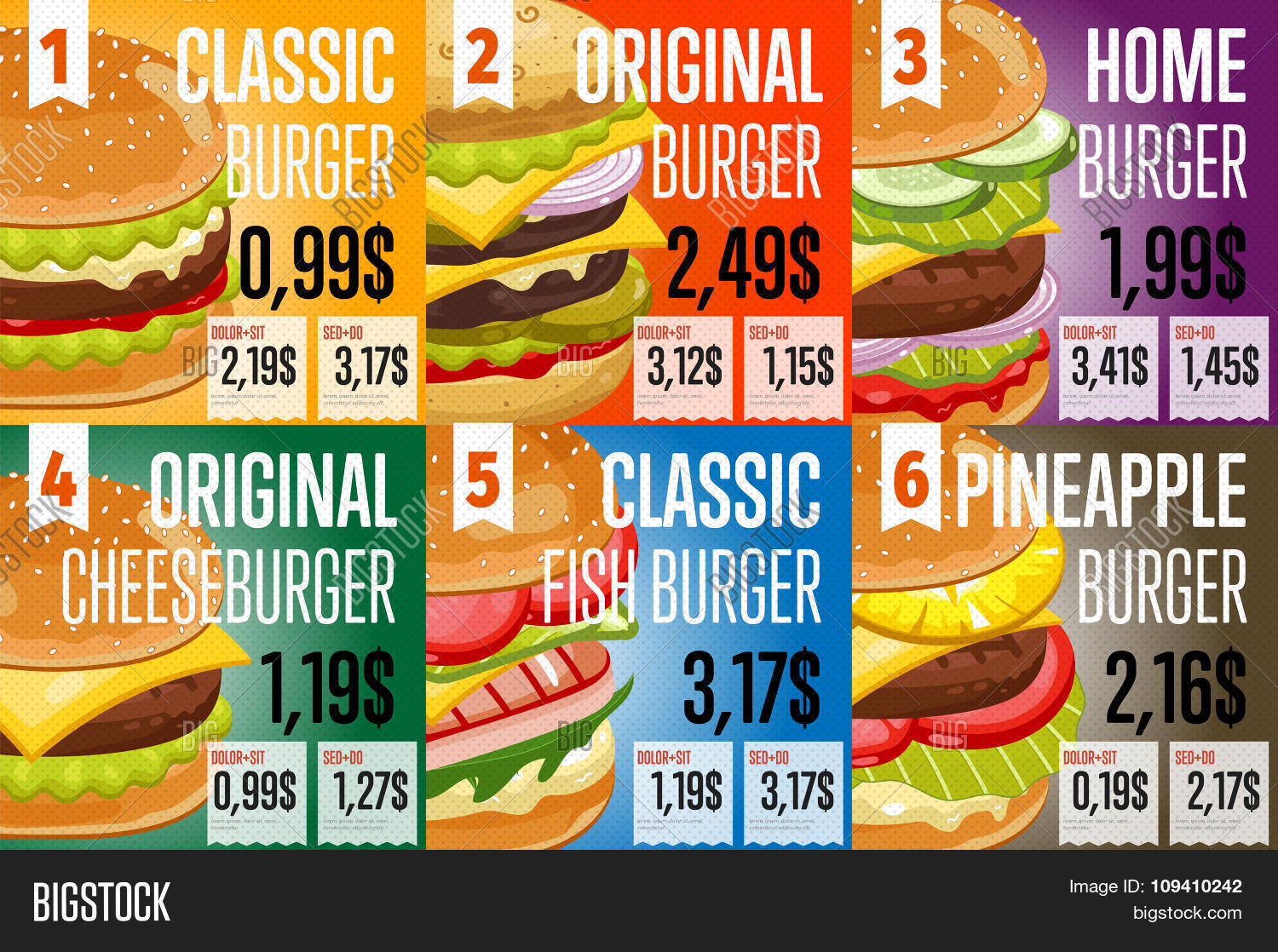 Fast food restaurant menu template vector photo bigstock