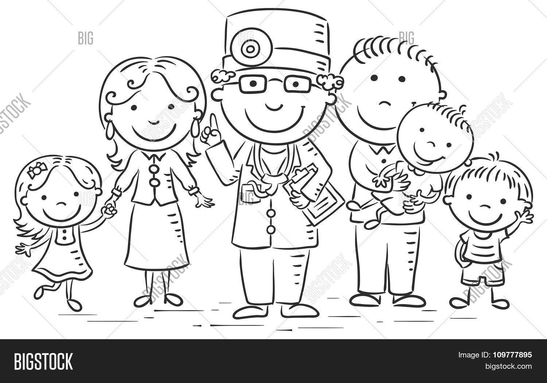 Cartoon Family Doctor Vector Photo Free Trial
