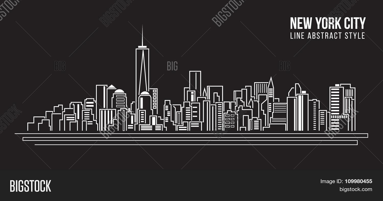 Line Art City : Buildings of the city under construction vector clip