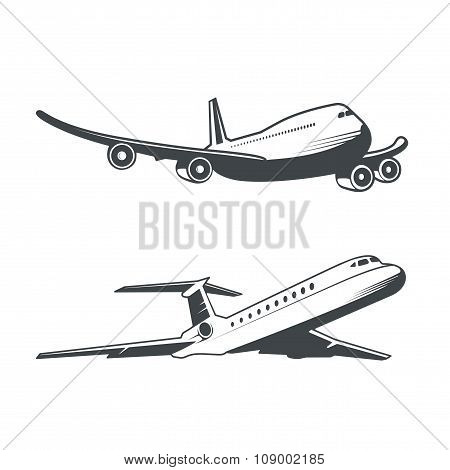 Silhouette Of Passenger Plane