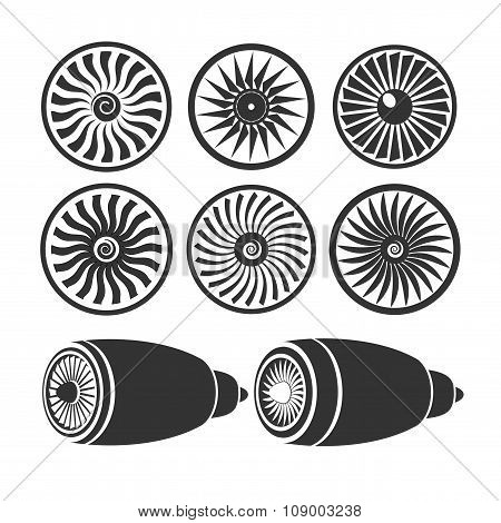 On the image  is presented Blades Of Turbines Of The Engine, Airplane Engine Silhouettes Monochromium poster