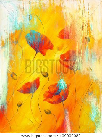 Red poppy on color background. Red poppies. Red flower on abstract color background