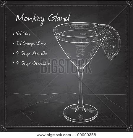 Cocktail Monkey Gland on black board