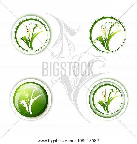 Calla Lily Flower Icon Set