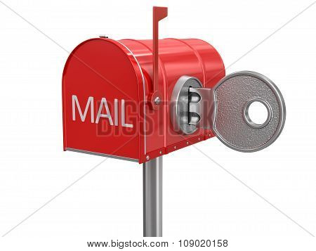 Mailbox and lock (clipping path included)