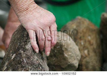 Arthritic hand in the garden