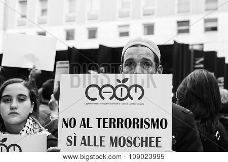 Muslim Community Demonstrating Against Terrorism In Milan, Italy
