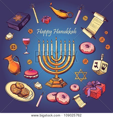 Happy Hanukkah holiday greeting background