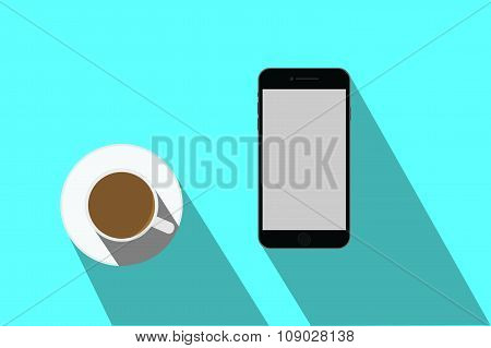 iPhone And Coffee_Blue