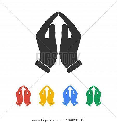 Praying Hands Icon, Vector Illustration.