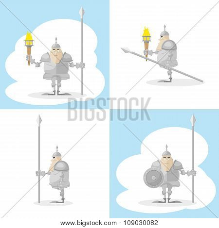 A Set Of Vector Shapes Funny Medieval Knight With A Spear And A Torch In The Hands Isolated On White