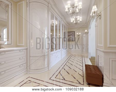 The Design Of The Hall In Art Nouveau Style In White Colors.