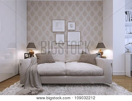 Beige Sofa In The Living Room In A Modern Style.