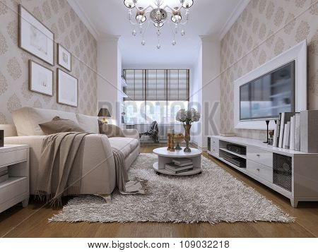 Guest Rooms In Art Deco Style With Beige Sofa Fabric.