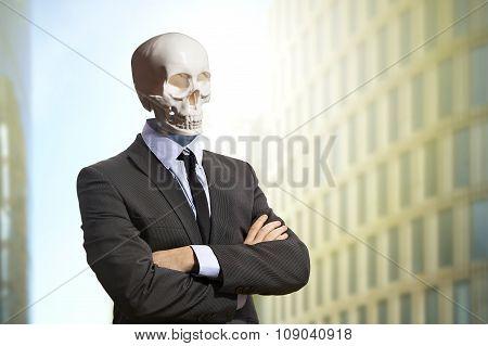 Skeleton in business suit