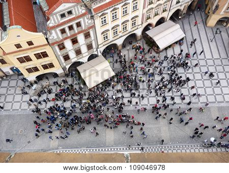 Prague Old Town Square And Tourists