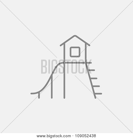 Playhouse with slide line icon for web, mobile and infographics. Vector dark grey icon isolated on light grey background.