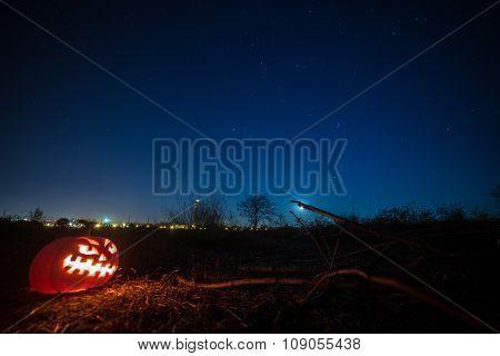 Halloween pumpkin. in the night sky.