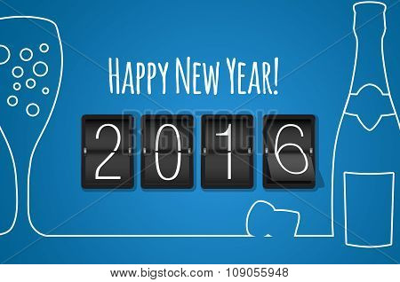 Happy New Year 2016- Blue Flat Design Background
