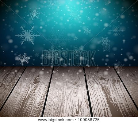 Christmas  background with 3D wooden floor and snowing background. Vector illustration.