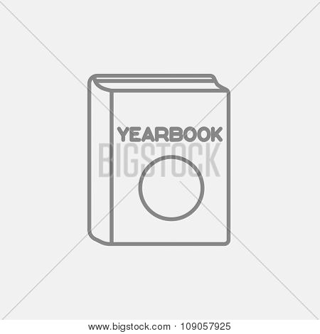 Yearbook line icon for web, mobile and infographics. Vector dark grey icon isolated on light grey background.