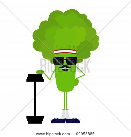 Isolated broccoli athlete heavyweight on white background