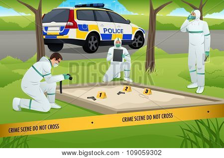 Forensic Working On A Crime Scene