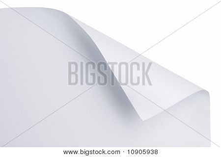 White paper with corner curl