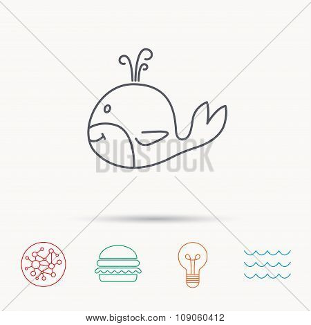 Whale icon. Largest mammal animal sign. Baleen whale with fountain symbol. Global connect network, ocean wave and burger icons. Lightbulb lamp symbol. poster