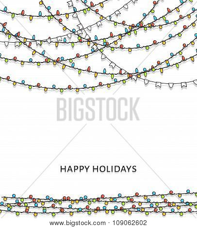 Bright garlands. Background with doodle garland. New Year's design