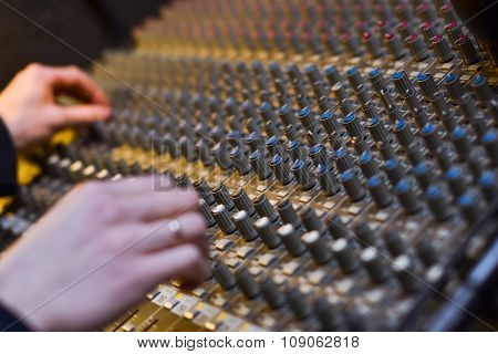 The Hands Of A Dj On The Background, Professional Audio Musical Mixer