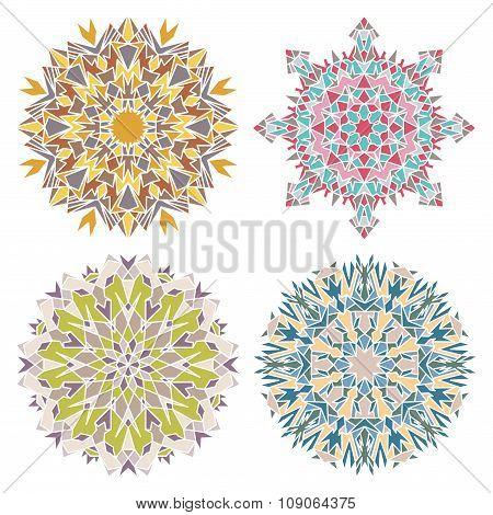 Set Of Four Geometric Mandalas