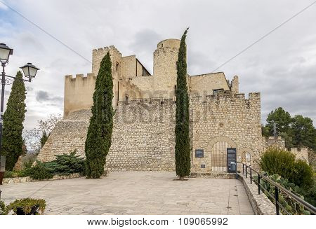 Castle at Castellet i la Gornal from lake. Catalonia Spain poster