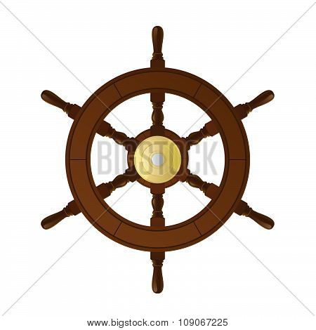 Isolated big steering weel on white background