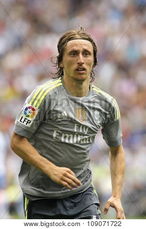 BARCELONA - SEPT, 12: Luka Modric of Real Madrid during a Spanish League match against RCD Espanyol at the Power8 stadium on September 12 2015 in Barcelona Spain