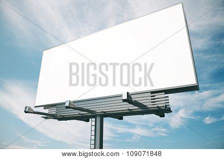 Blank Billboard At Blue Sky Backgound, Mock Up