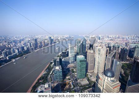 SHANGHAI, CHINA - JULY 24, 2015: China cityscape of Financial District at July 24, 2015